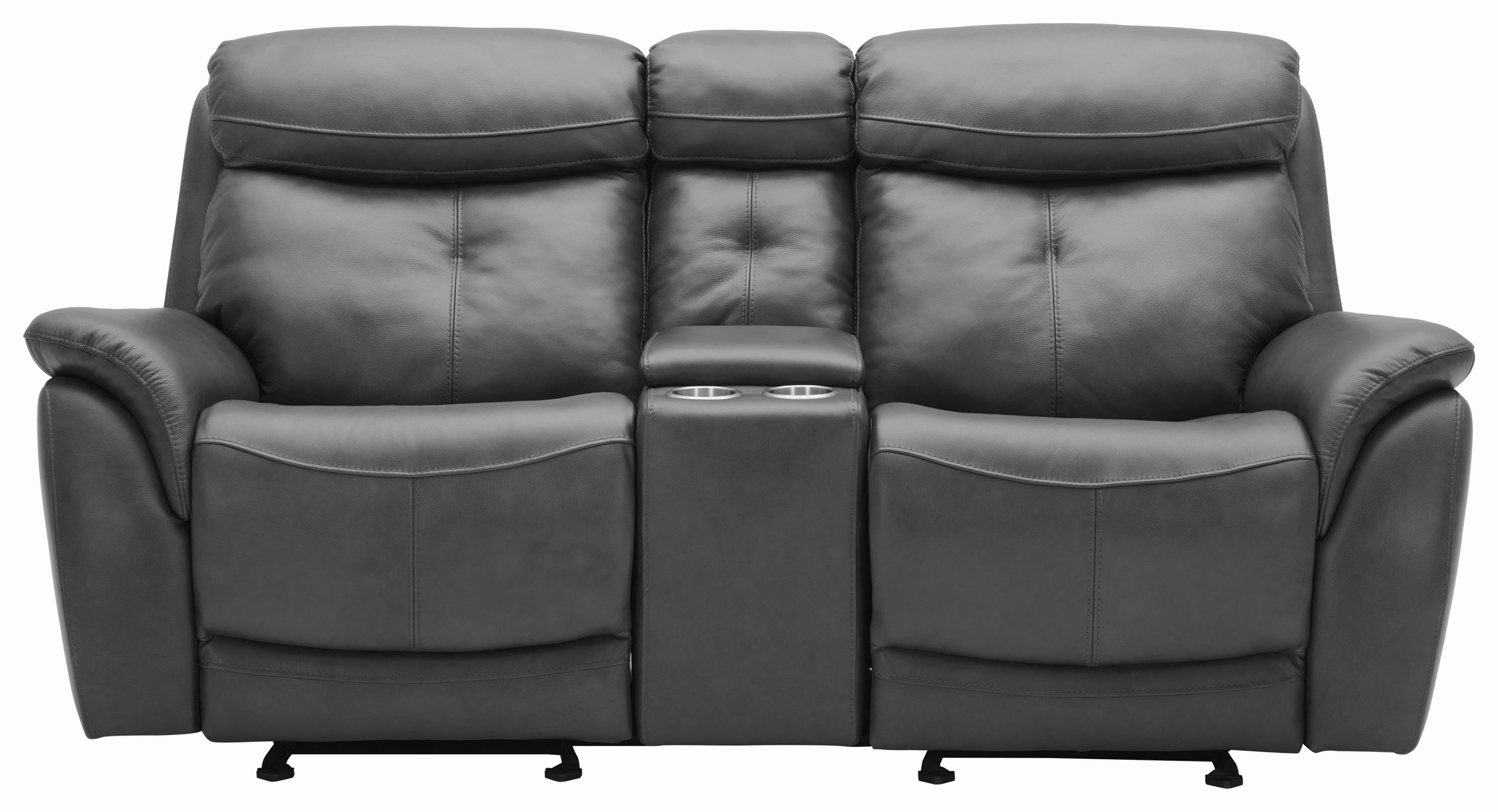 Largos Reclining Leather Loveseat with Console by K.C. at Walker's Furniture