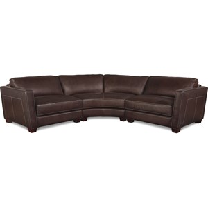 Three Piece Curved Leather Sectional Sofa