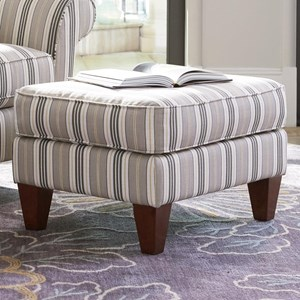 Transitional Ottoman with Tapered Wood Legs