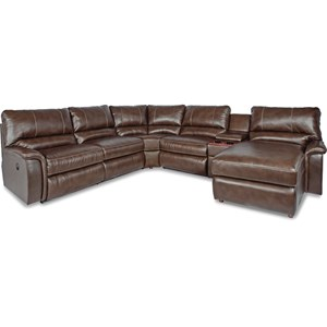 Six Piece Power Reclining Sectional Sofa with Right Arm Chaise and Cupholders