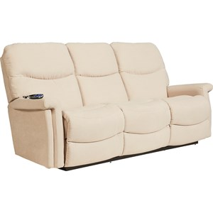 Casual Power Wall Saver Reclining Sofa with Power Adjustable Headrest and Lumbar