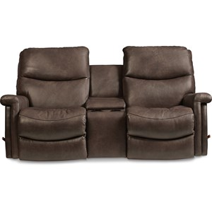 Casual Wall Saver Reclining Loveseat with Drink Storage Console