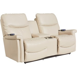 Casual Power Reclining Wall Saver Loveseat with Drink Console, Power Head and Lumbar