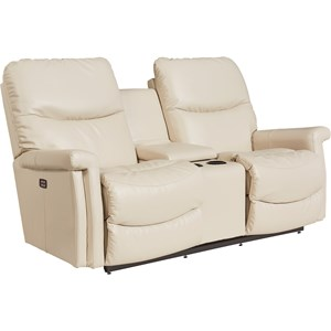 Casual Power Wall Saver Reclining Loveseat with Drink Storage Console