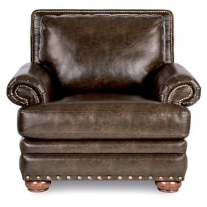 Traditional Chair with Comfort Core Cushion and Two Sizes of Nailhead