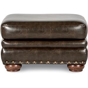 Traditional Ottoman with Comfort Core Cushion and Oversized Nailheads