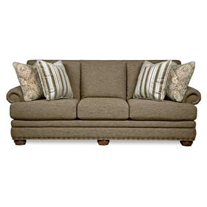 Traditional Sofa with Comfort Core Cushions and Two Sizes of Nailhead