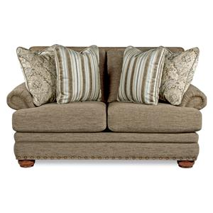 Traditional Loveseat with Comfort Core Cushions and Two Sizes of Nailhead