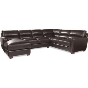 Three Piece Contemporary Leather Sectional Sofa with LAF Chaise