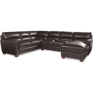 Three Piece Contemporary Leather Sectional Sofa with RAF Chaise