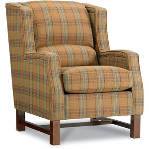 Cosmopolitan Transitional Wing Chair with Nailheads and Exposed Wood Trim