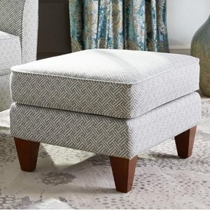 Allegra Ottoman with Tapered Wood Legs