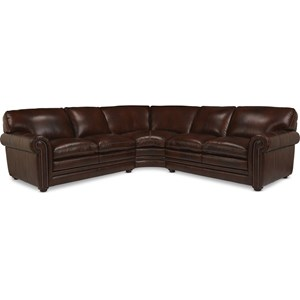 Traditional 3-Piece Sectional with Rolled Arms