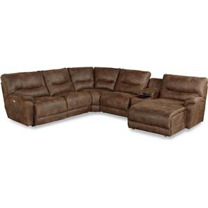 Casual Six Piece Reclining Sectional Sofa with LAS Chaise