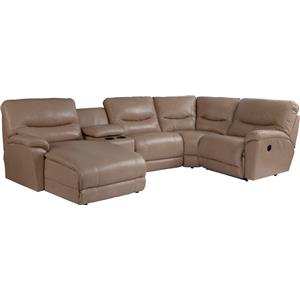 Casual Five Piece Reclining Sectional Sofa with RAS Chaise