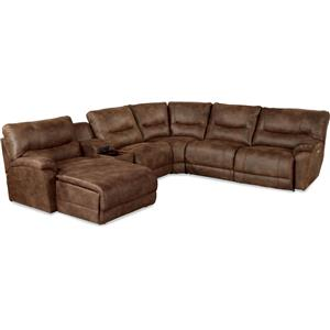 Casual Six Piece Power Reclining Sectional Sofa with LAS Chaise