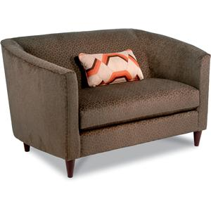 Contemporary Settee Loveseat with Modern Shelter Arms