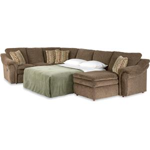 4 Piece Sectional Sofa with RAS Chaise and Full Sleeper