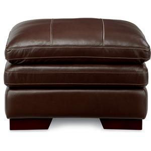 Casual Ottoman with Wood Block Legs and Pillow Top Cushion