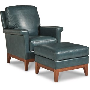 Modern Chair and Ottoman with Solid Wood Base
