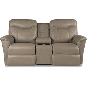 Casual Reclining Loveseat with Cupholders and Storage Console