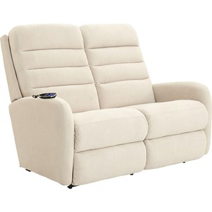 Contemporary Power-Recline-XRw™+ Rocking Reclining Loveseat with Adjustable Head and Lumbar
