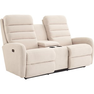 Contemporary Power-Recline-XRw™ Wall Saver Reclining Loveseat with Drink Storage Console