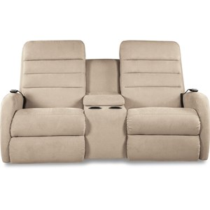 Contemporary Power-Recline-XRw™+ Wall Saver Reclining Loveseat with Drink Storage Console and Power Head and Lumbar