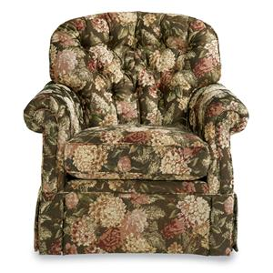 Traditional Swivel Glider with Kick-pleat Skirt and Pleated Rolled Arms