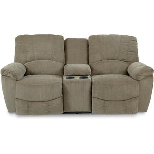 Casual La-Z-Time® Full Reclining Loveseat w/Console and Channel-Stitched Back
