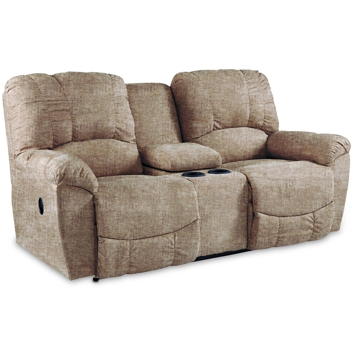 Hayes La-Z-Time®Full Reclining Loveseat w/Console by La-Z-Boy at Reid's Furniture