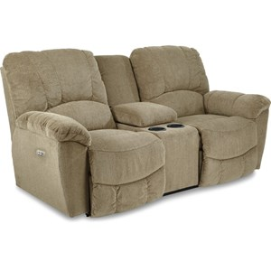 Casual La-Z-TimePower Reclining Loveseat with Power Headrest and Cupholder Storage Console