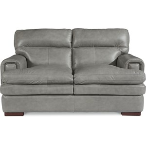 Casual Loveseat with Nail Head Trim
