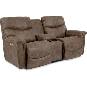 Casual Power La-Z-Time® Full Reclining Loveseat with Middle Console and Power Headrests
