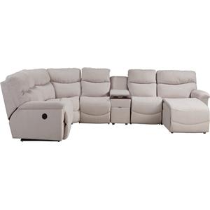 Six Piece Power Reclining Sectional with LAS Chaise and One Power Tilt Headrest Chair