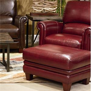 Leather Chair and Ottoman Set with Bustle Back and Rolled Arms