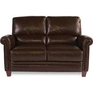 Leather Loveseat with Bustle Back and Rolled Arms