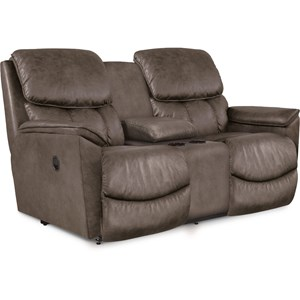 Casual Power Reclining Console Loveseat with Power Headrests and USB Charging Ports
