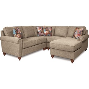 Traditional Four Piece Sectional Sofa with Left Arm Sitting Chaise