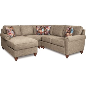 Traditional Four Piece Sectional Sofa with Right Arm Sitting Chaise