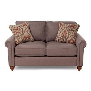Traditional Rolled Arm Loveseat with Premier Comfort Core Cushions