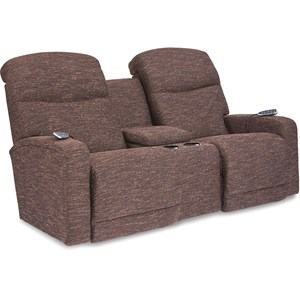 Contemporary Power-Recline-XRw+? Console Loveseat with Power Headrest & Lumbar