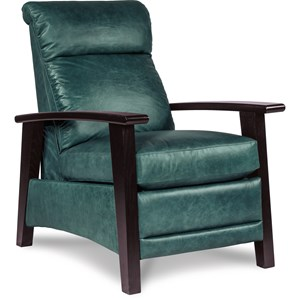 Nouveau Modern Recliner with Wood Arms and Power Motion