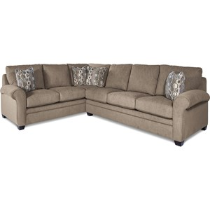 Casual Two Piece Sectional Sofa with Pull-Out Queen Sleeper