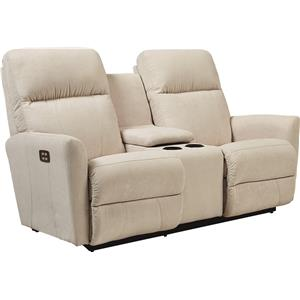 Contemporary Power-Recline-XRw™ Wall-Saver Reclining Loveseat with Cupholder Console