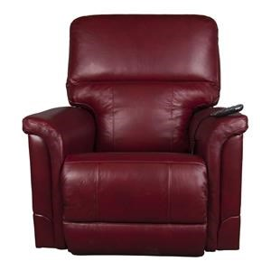 Leather-Match Recliner with Power Lumbar
