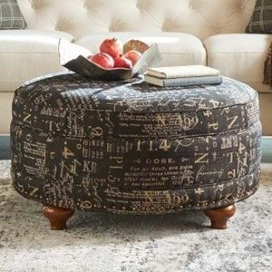 Coronet Round Storage Ottoman with ComfortCore Cushion and Hidden Casters