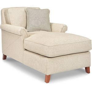 Transitional Flared Arm Chaise Lounge