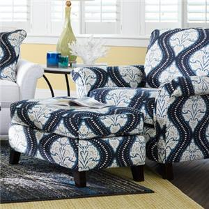 Transitional Flared Arm Chair and Ottoman Set