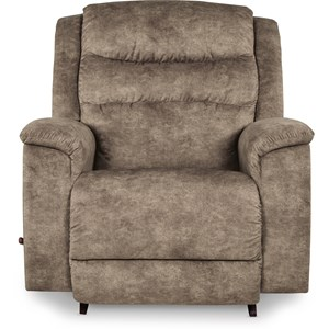Casual Big and Tall Rocker Recliner with Pillow Arms